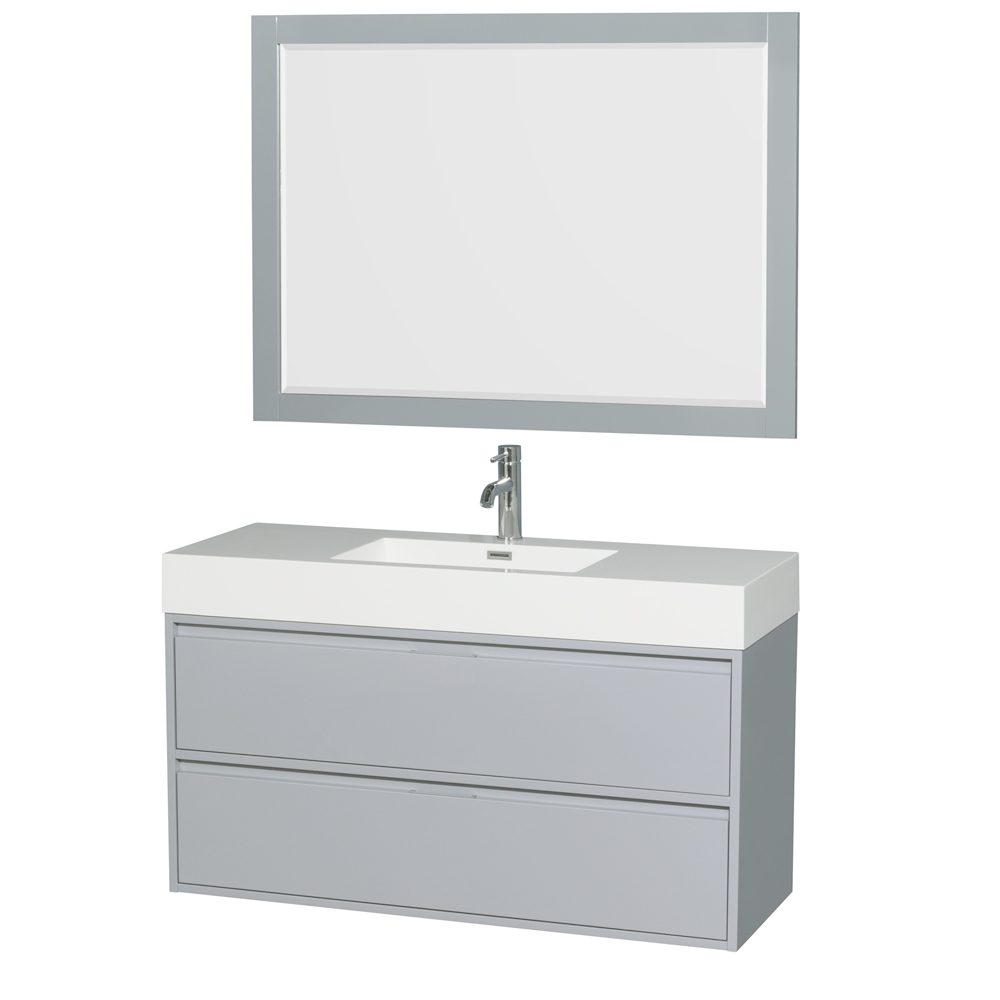 Daniella 48 Inch Single Bathroom Vanity In Dove Gray Acrylic Resin Countertop Integrated Sink And 46 Inch Mirror