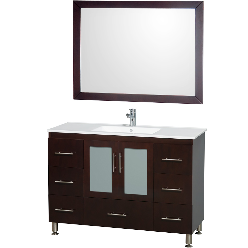 Katy 48 Inch Single Bathroom Vanity In Espresso White Porcelain Countertop White Porcelain Sink And 46 Inch Mirror