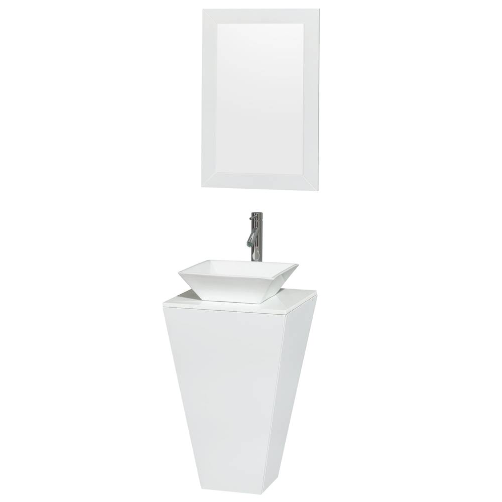 Esprit 20 Inch Pedestal Bathroom Vanity In Glossy White White Man Made Stone Countertop Pyra White Porcelain Sink And 20 Inch Mirror Housfair