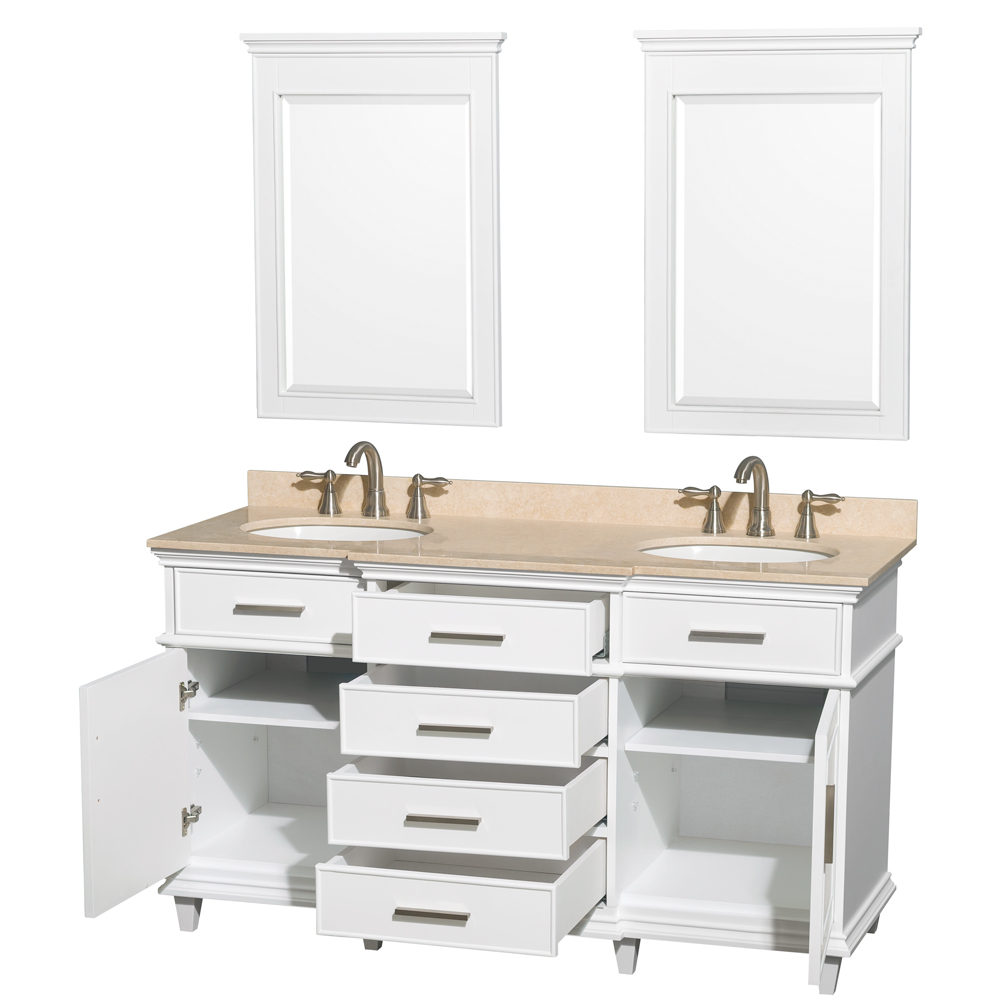 Berkeley 60 Inch Double Bathroom Vanity In White With Ivory Marble
