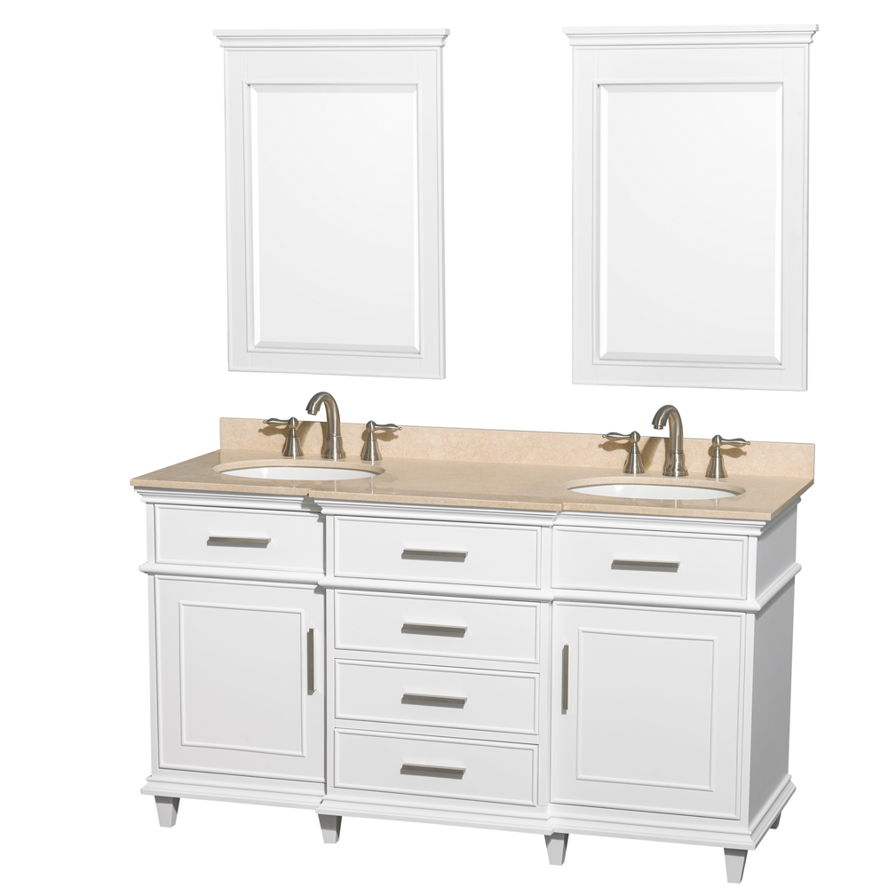 60 Inch White Bathroom Vanity.Berkeley 60 Inch Double Bathroom Vanity In White With Ivory Marble Top With White Undermount Oval Sinks And 24 Inch Mirrors