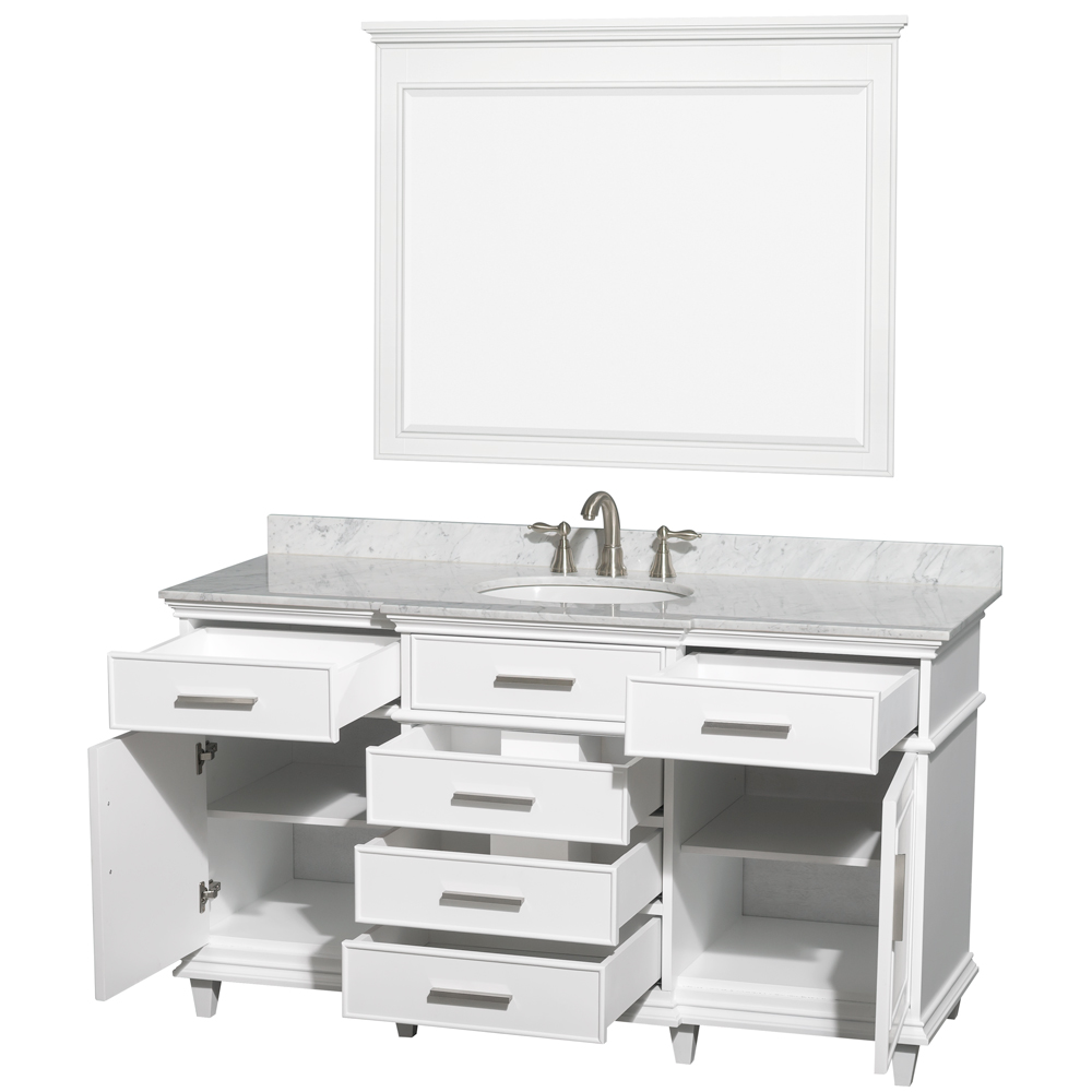 60 Inch White Bathroom Vanity.Berkeley 60 Inch Single Bathroom Vanity In White With White Carrara Marble Top With White Undermount Oval Sink And 44 Inch Mirror