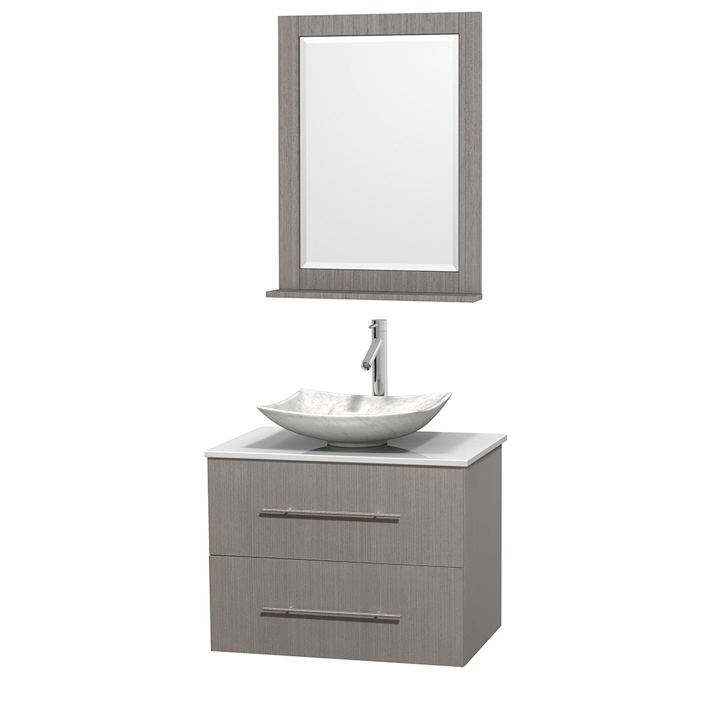 30 Inch Oak Bathroom Vanity.Centra 30 Inch Single Bathroom Vanity In Gray Oak White Man Made Stone Countertop Arista White Carrara Marble Sink And 24 Inch Mirror
