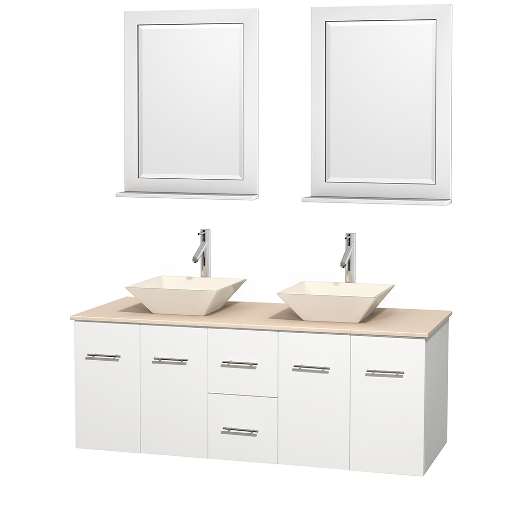 Centra 60 Inch Double Bathroom Vanity In Matte White Ivory Marble